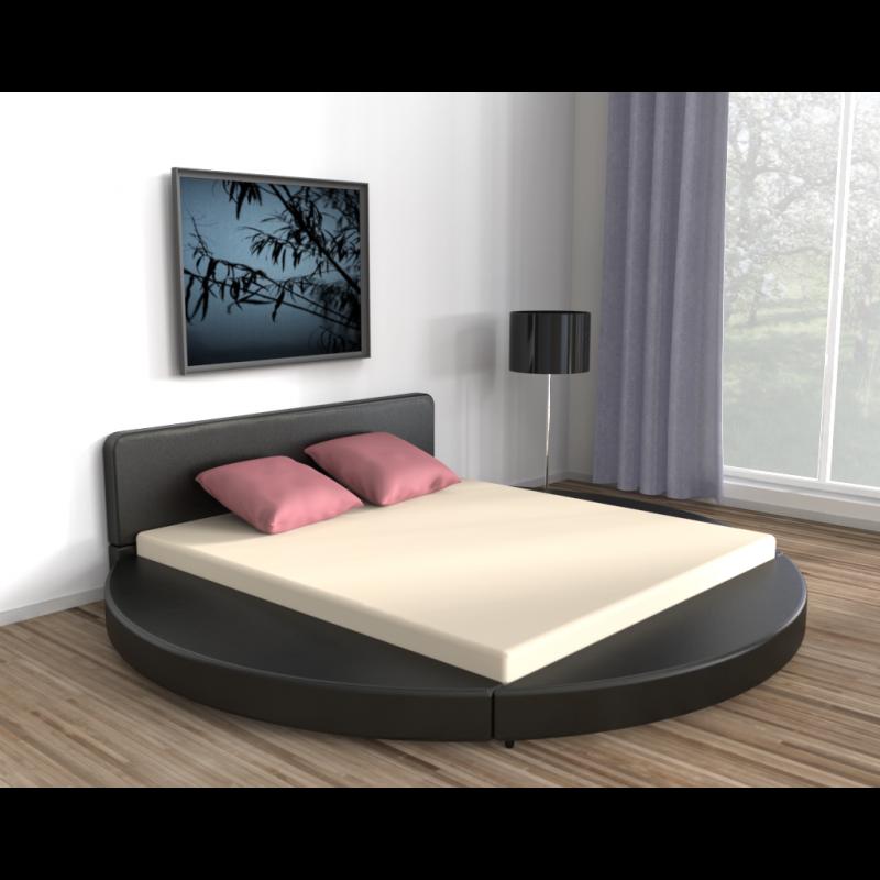lederbett rund schwarz 180x200cm. Black Bedroom Furniture Sets. Home Design Ideas
