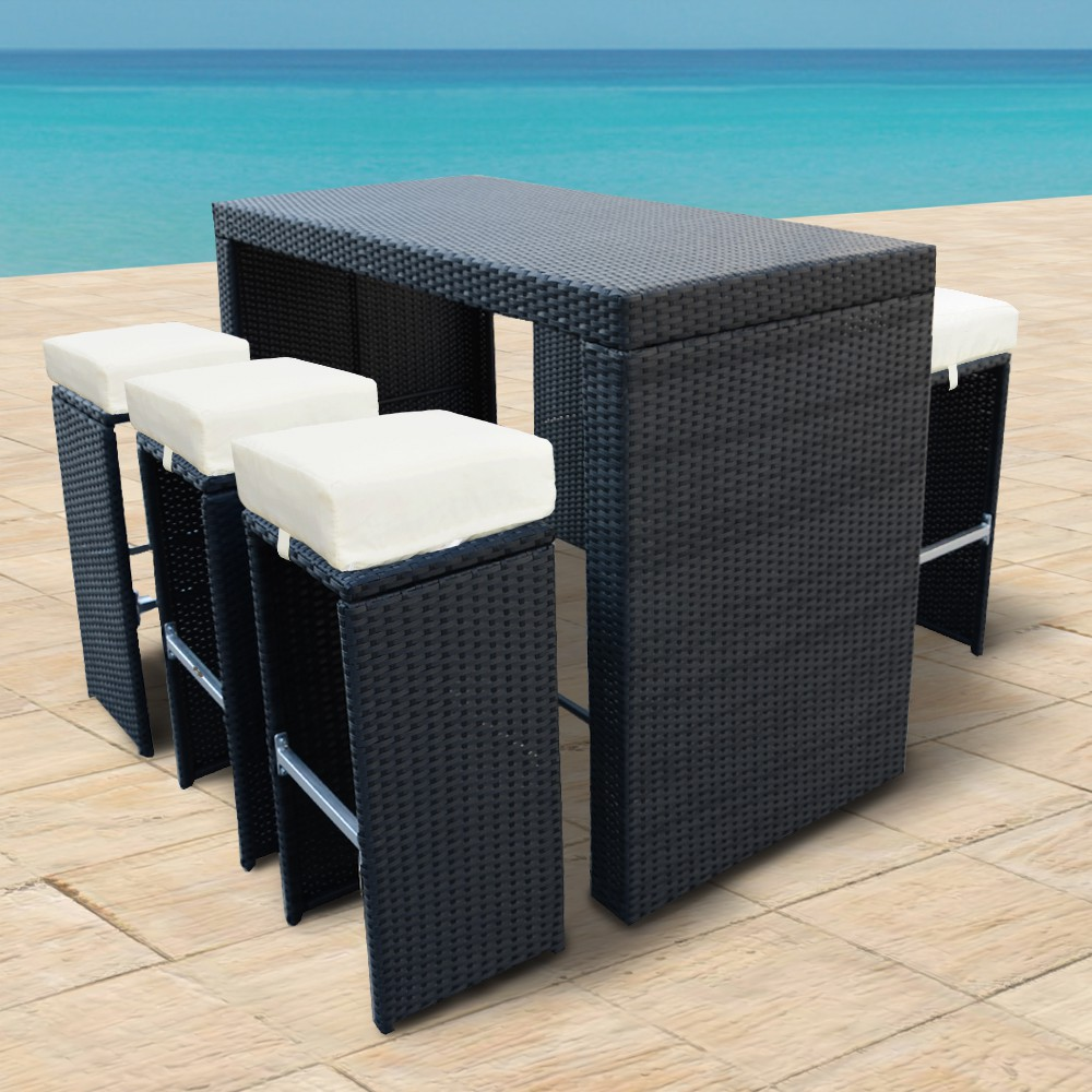 Rattan Set, Bartheke + Hocker