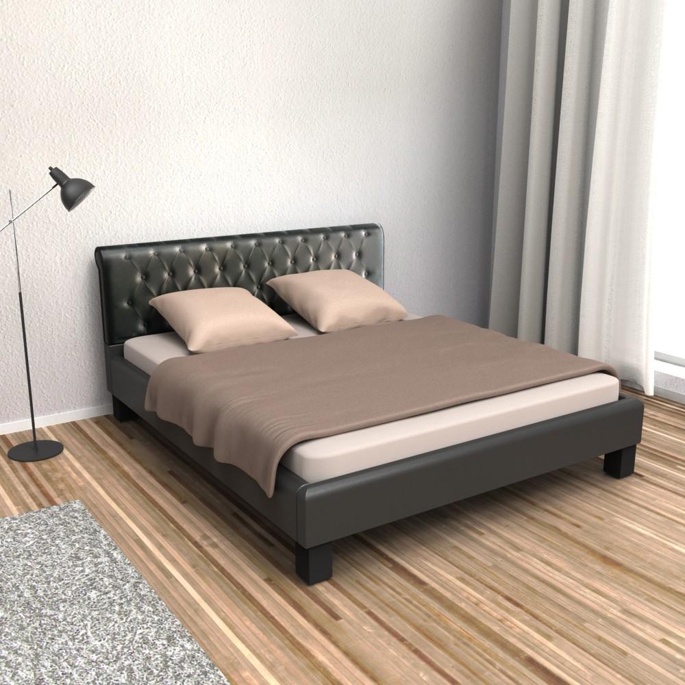 lederbett schwarz 140x200cm. Black Bedroom Furniture Sets. Home Design Ideas