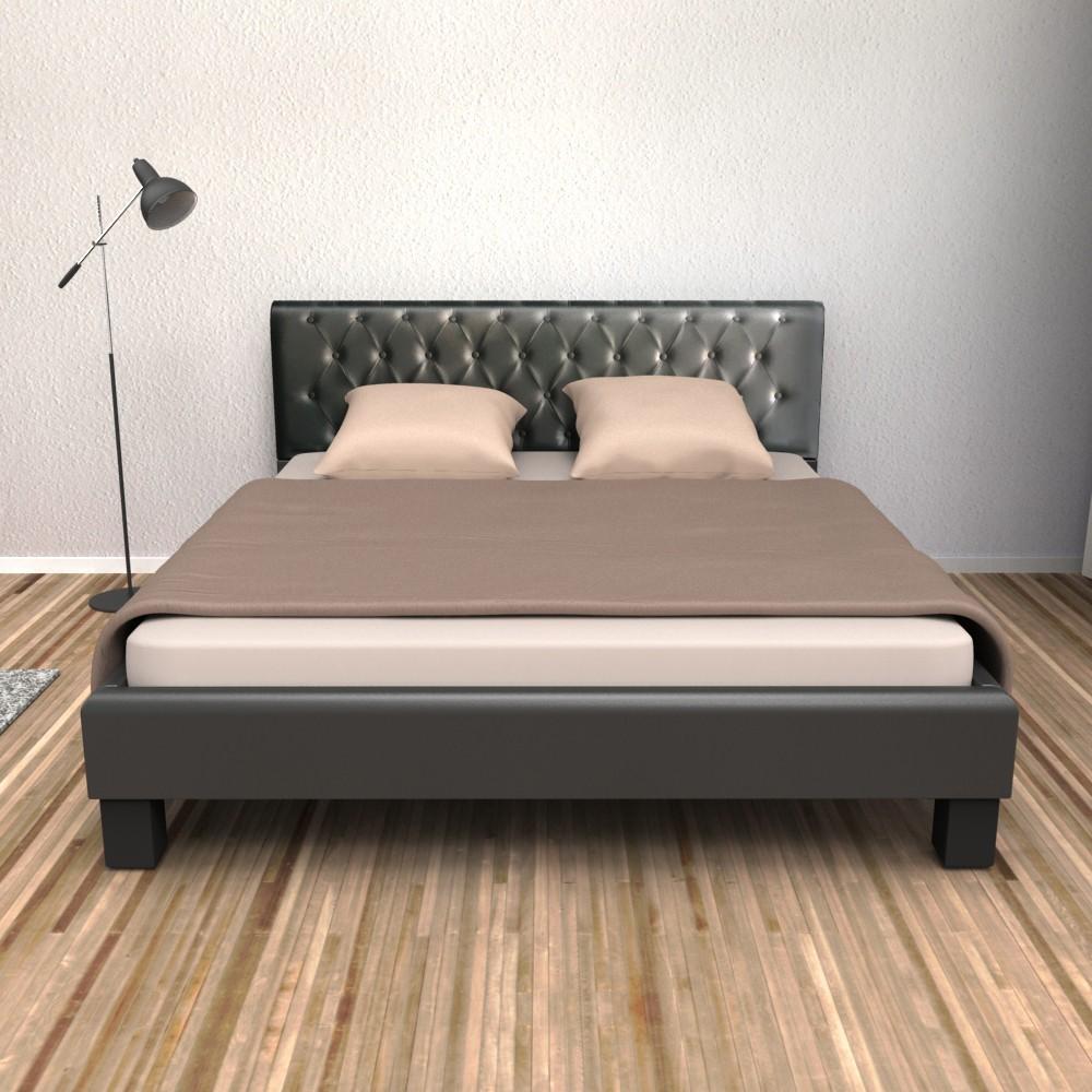 lederbett schwarz 140x200cm gratis lieferung. Black Bedroom Furniture Sets. Home Design Ideas