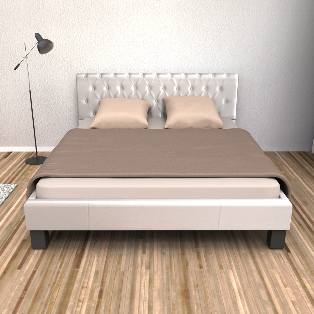 lederbett weiss 160x200cm gratis lieferung. Black Bedroom Furniture Sets. Home Design Ideas