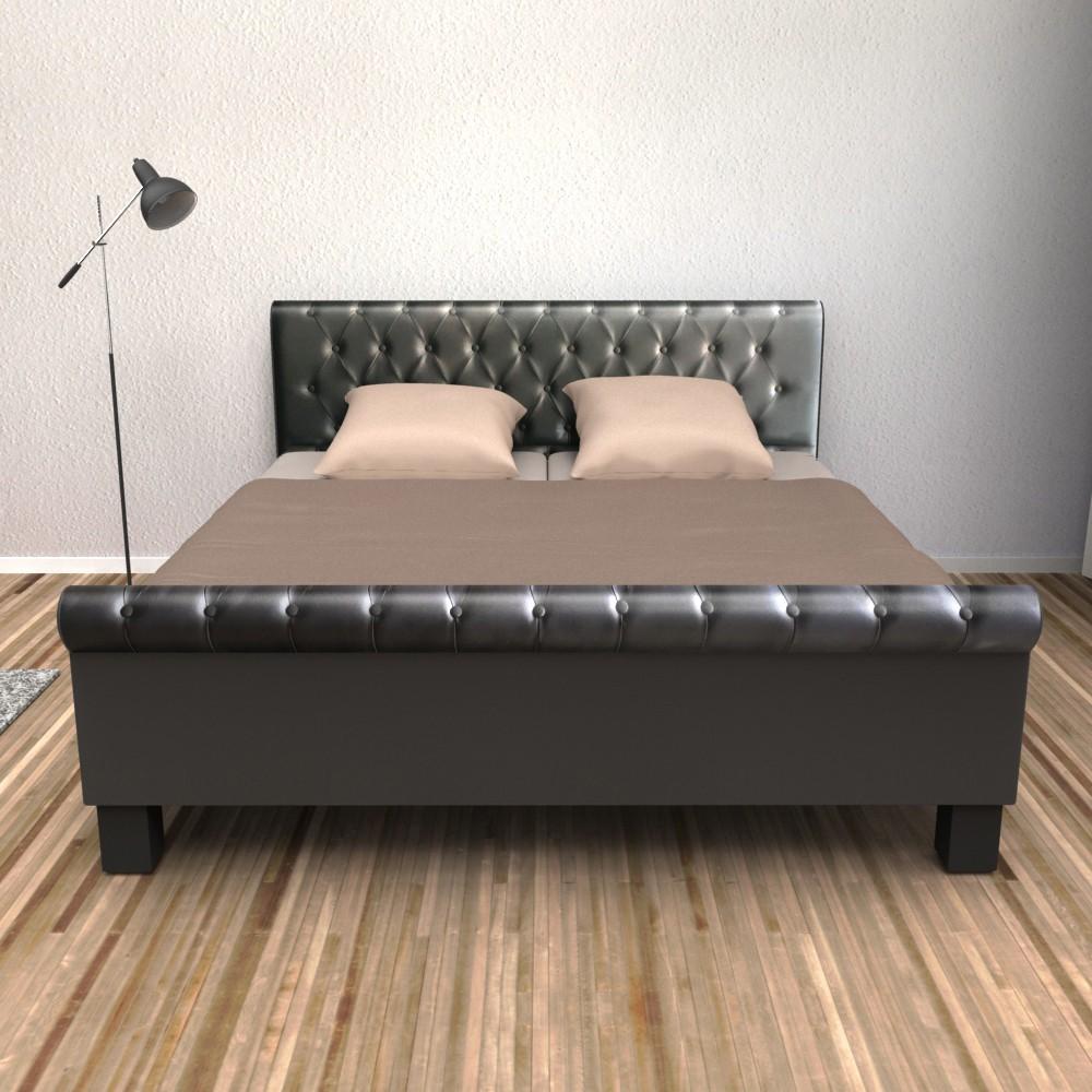lederbett schwarz 160x200cm gratis lieferung. Black Bedroom Furniture Sets. Home Design Ideas
