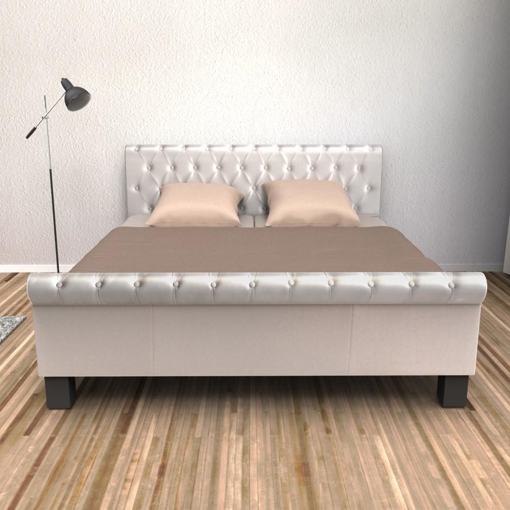 lederbett weiss 140x200cm gratis lieferung. Black Bedroom Furniture Sets. Home Design Ideas