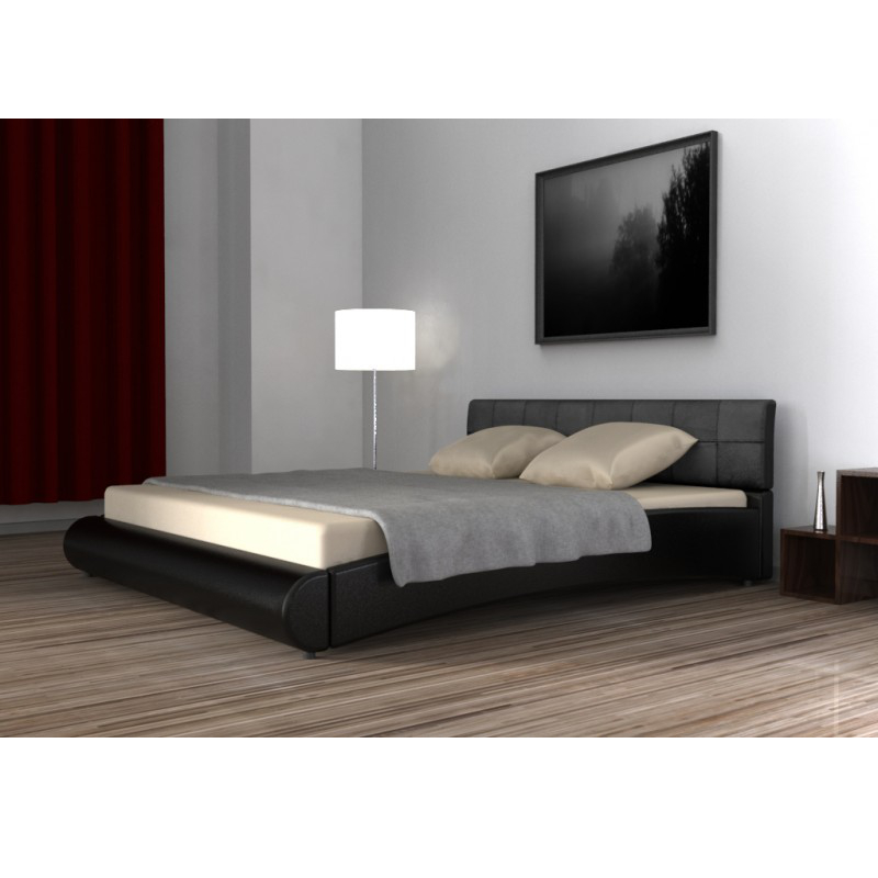 lederbett schwarz 180x200cm. Black Bedroom Furniture Sets. Home Design Ideas