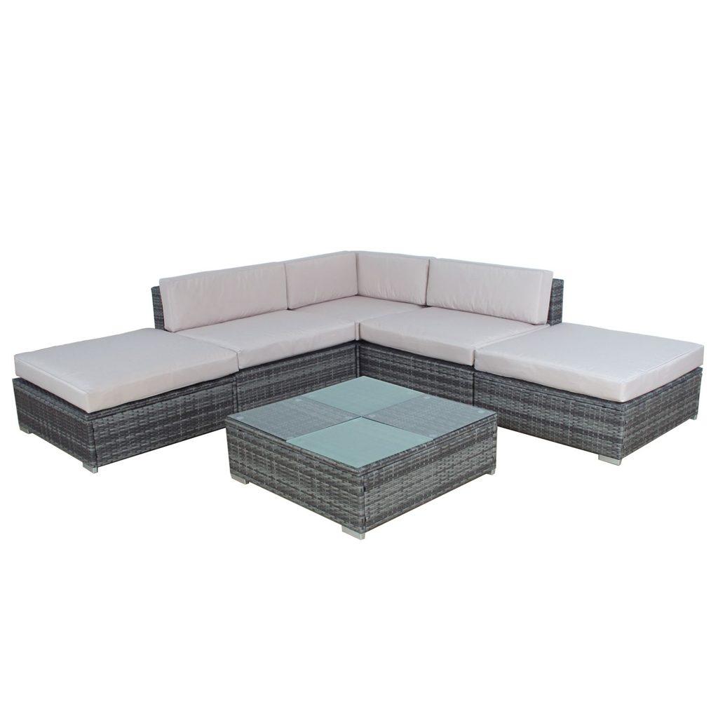 gartenm bel rattan lounge porto grau. Black Bedroom Furniture Sets. Home Design Ideas