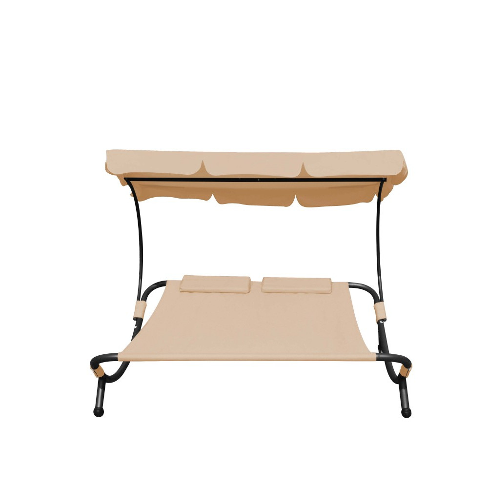 sonnenliege gartenliege 2 personen beige grat. Black Bedroom Furniture Sets. Home Design Ideas