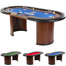 XXL Pokertisch Blau ROYAL FLUSH, 213 x 106 x 75cm, Casino