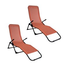 Liegestuhl Beach Chair im Doppelpack orange